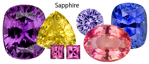 Mixed shape and color sapphires