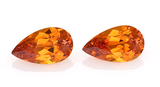 pair spessartite garnet pear shape