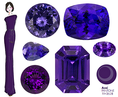Pantone Fall color Acai gemstones purple